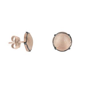 Champ boucles d'oreilles puces mini capsules satinées argent massif plaqué or rose, muselet argent massif rhodié noir