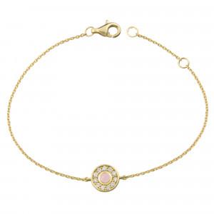 Marelle à Marbella, bracelet chaîne, petit cabochon Opale rose, diamants blancs, or jaune