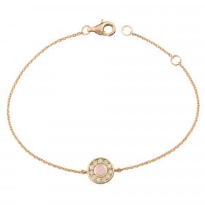 Marelle à Marbella, bracelet chaîne, petit cabochon Opale rose, diamants blancs, or rose