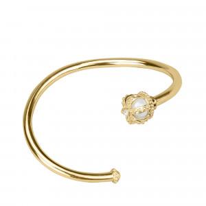 Princesse Tipois bracelet jonc or jaune, perle d'eau douce, diamants blancs