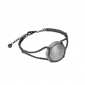 Champ bracelet manchette torsadée capsule satinée, argent massif rhodié blanc et  noir (Taille M)