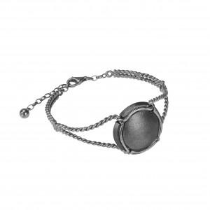 Champ !, bracelet, manchette torsadée, argent massif rhodié blanc, capsule satinée argent massif rhodié noir, (Taille M)