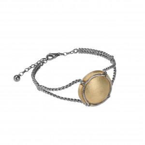 Champ !, bracelet, manchette torsadée, capsule satinée, argent massif plaqué or jaune, muselet et bracelet argent massif rhodié blanc, (Taille M)