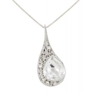 """""""La larme du Crocodile"""", collier chaîne, pendentif, filigrane, or blanc, Cristal de Roche, facetté, taille poire, diamants blancs,"""