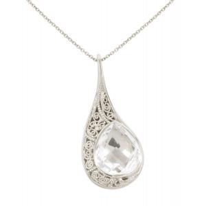 """""""La larme du Crocodile"""", collier chaîne, pendentif, filigrane, or blanc, Cristal de Roche, facetté, taille poire,"""