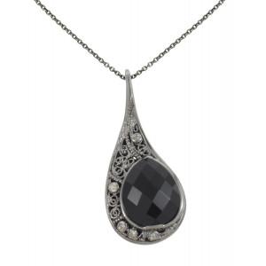 """""""La larme du Crocodile"""", collier chaîne, pendentif, filigrane, or noir, Onyx noir, facetté, taille poire, diamants Champagne,"""