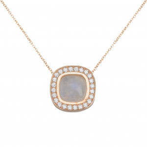 Marelle à Marbella, collier chaîne, pendentif pierre de lune, taille cabochon coussin, diamants blancs, or rose