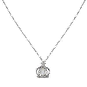 Princesse Tipois, collier chaîne, pendentif couronne, or blanc, perle d'eau douce