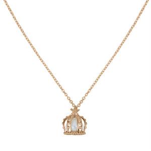 Princesse Tipois, collier chaîne, pendentif couronne, or rose, perle d'eau douce