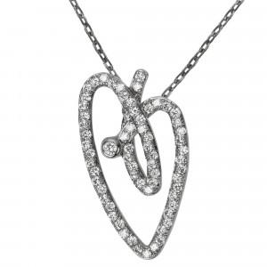 Joli Cœur collier, chaîne ras de cou et pendentif cœur, or noir pavé diamants blancs