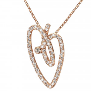 Joli Cœur collier, chaîne ras de cou et pendentif cœur, or rose pavé diamants blancs