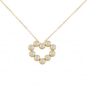 Marelle à Marbella, collier chaîne, pendentif coeur, Pierres de Lunes, taille cabochon, or jaune