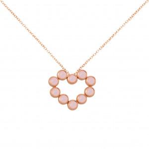 """""""Marelle à Marbella"""", collier chaîne, pendentif cœur, Opales roses, taille cabochon, or rose,"""