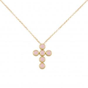 """Marelle à Marbella"", collier chaîne, pendentif croix, Opales roses, taille cabochon, or jaune,"