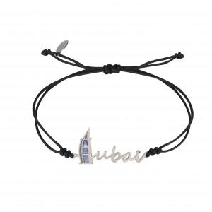 Globe-Trotter, bracelet Dubaï, argent massif, rhodié blanc, cordon nylon,