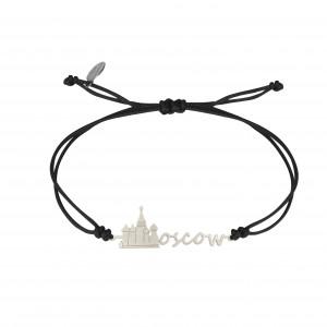Globe-Trotter, bracelet Moscow (Moscou), argent massif, rhodié blanc, cordon nylon,