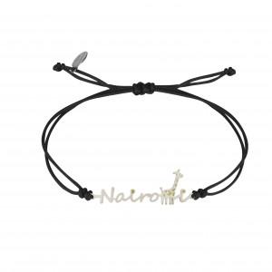 Globe-Trotter, bracelet Naïrobi, argent massif, rhodié blanc, cordon nylon,