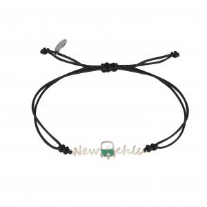 Globe-Trotter, bracelet New Delhi, argent massif, rhodié blanc, cordon nylon,