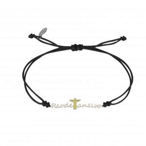 Globe-Trotter, bracelet Rio de Janeiro, argent massif, rhodié blanc, cordon nylon,