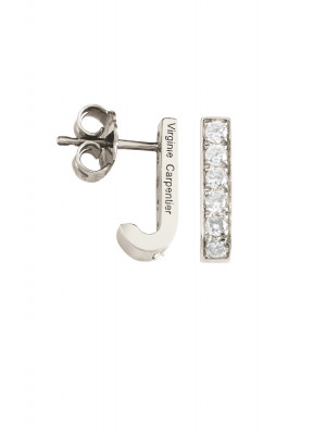 Pills boucles d'oreille dormeuses or blanc, diamants blancs