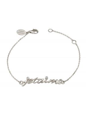 Bracelet, chaîne, 'Je t'aime', argent massif, rhodié blanc, diamants blancs,