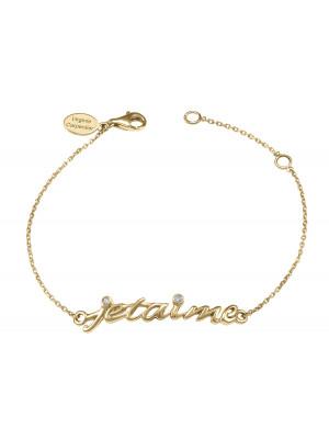 Bracelet, chaîne, 'Je t'aime', argent massif, plaqué or jaune, diamants blancs,