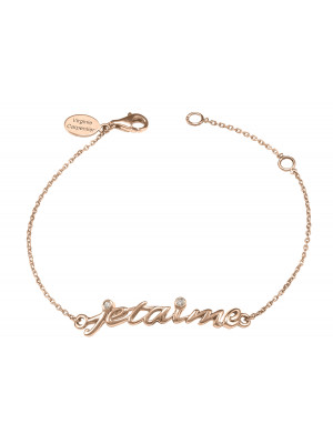 Bracelet, chaîne, 'Je t'aime', argent massif, plaqué or rose, diamants blancs,