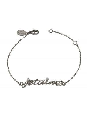 Bracelet, chaîne, 'Je t'aime', argent massif, rhodié noir, diamants blancs,
