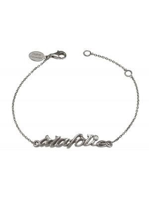 Bracelet chaîne 'à la folie' argent massif rhodié noir et diamant