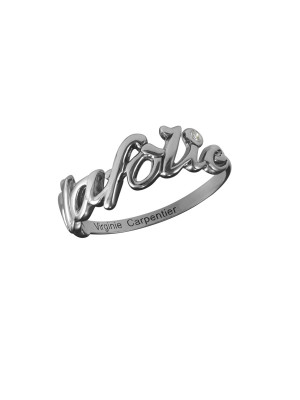 Bague, alliance, 'à la folie', or noir, diamant blanc,