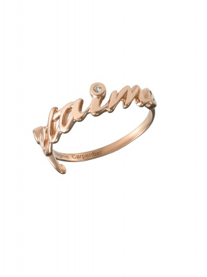 Bague, alliance, 'Je t'aime', argent massif plaqué or rose, diamants blancs,