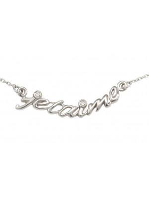 Collier, ras-de-cou, chaîne, 'je t'aime', argent massif rhodié blanc, diamants,