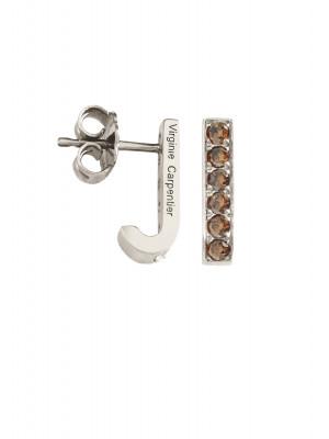 Pills boucles d'oreille dormeuses argent massif rhodié blanc, pierres Swarovski Cognac