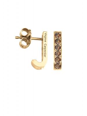 Pills, boucles d'oreille dormeuses, argent massif plaqué or jaune, pierres Swarovski Cognac