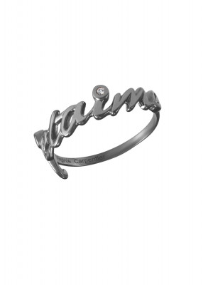 Bague, alliance, 'Je t'aime', or noir, diamants blancs,