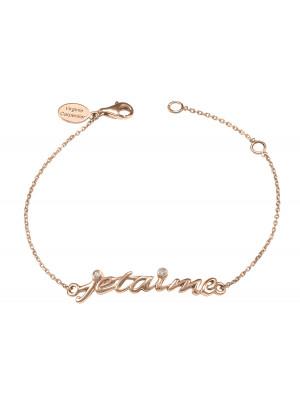 Bracelet chaîne 'Je t'aime' or rose et diamants blancs