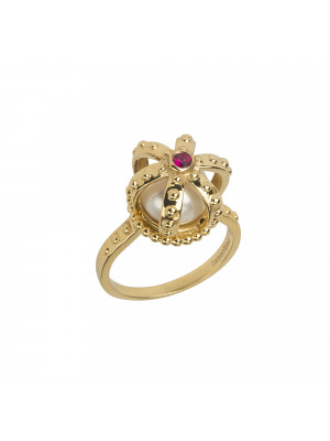 Princesse Tipois bague couronne, argent massif plaqué or jaune, perle d'eau douce, pierre synthétique Swarovski rouge