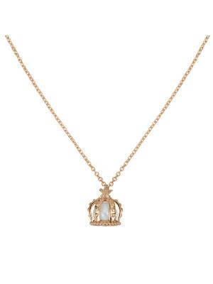Princesse Tipois, collier chaîne, pendentif couronne, argent massif plaqué or rose, perle d'eau douce
