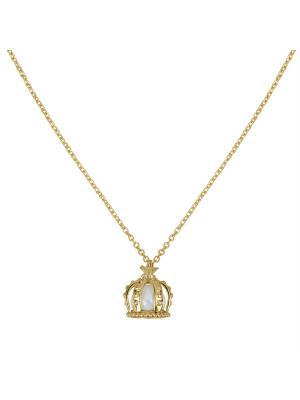 Princesse Tipois, collier chaîne, pendentif couronne, argent massif plaqué or jaune, perle d'eau douce