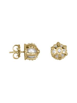 Princesse Tipois boucles d'oreille puces , couronnes, argent massif plaqué or jaune, perle d'eau douce, pierre synthétique Swarovski blanche