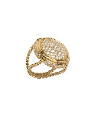 Champ ! bague chevalière capsule pavée de diamants blancs, anneau torsadé, or jaune, 18 kt,