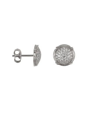 Champ !, boucles d'oreille puces, mini-capsules, pavage diamants blancs, or blanc,