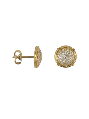 Champ !, boucles d'oreille puces, mini-capsules, pavage diamants blancs, or jaune,