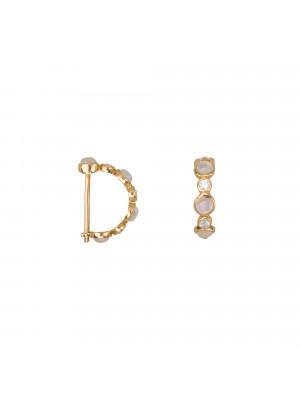 Marelle à Marbella, boucles d'oreille mini créoles, cabochons de pierre de lune, diamants blancs, or jaune