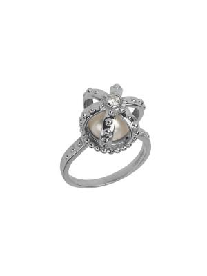 Princesse Tipois bague couronne, or blanc, perle d'eau douce, diamant blanc