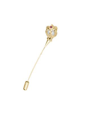Princesse Tipois broche couronne montée sur pique, or jaune perle eau douce, rhodolite rose