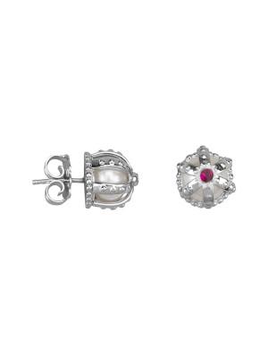 Princesse Tipois boucles d'oreille puces, couronnes, or blanc, perles d'eau douce, rhodolites roses