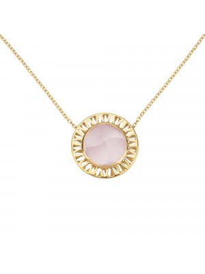"""Ma cousine Tonkinoise"", collier chaîne, pendentif, Quartz Rose,conique, or jaune,"