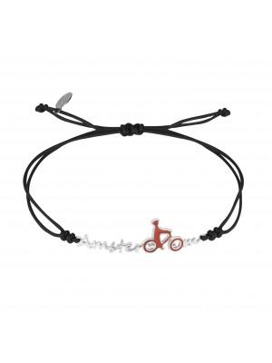 Globe-Trotter, bracelet Amsterdam, argent massif, rhodié blanc, cordon nylon,