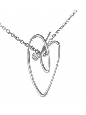 Joli Cœur collier, chaîne ras-de-cou, pendentif cœur, or blanc, diamant blanc,